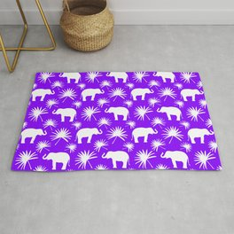 Wild African white little elephants, exotic tropical leaves whimsical cute seamless purple pattern. Rug