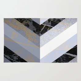 Chevron Pattern 2. Blue, Marble and Glitter #decor #buyart Rug