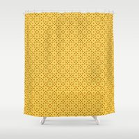 yellow pattern Shower Curtains featuring yellow pattern by Artemio Studio