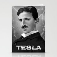 tesla Stationery Cards featuring Nikola Tesla by San Fernandez