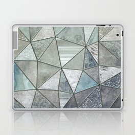 Teal And Grey Triangles Stained Glass Style Laptop & iPad Skin