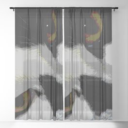 Black white cat Sheer Curtain