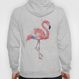 Pink Flamingo Watercolor Tropical Animals Bird Hoody