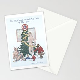 Team Cap Naughty Pinup Holiday Card Stationery Cards