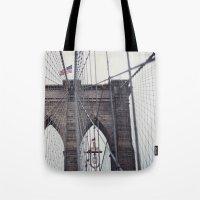 brooklyn bridge Tote Bags featuring Brooklyn Bridge by Kameron Elisabeth