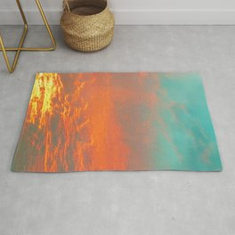 Volcanic Sky in Teal Orange and Yellow Photo Rug