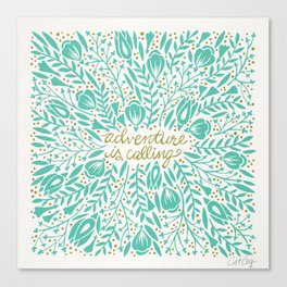 Adventure is Calling – Turquoise & Gold Palette Canvas Print