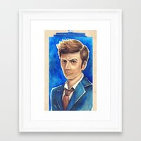 david tennant Framed Art Prints featuring David Tennant 10th Doctor Who by Tiffany Willis
