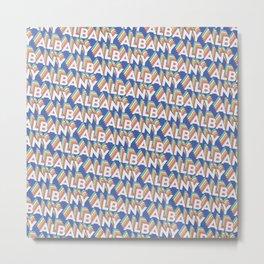 Albany, New York Trendy Rainbow Text Pattern (Blue) Metal Print