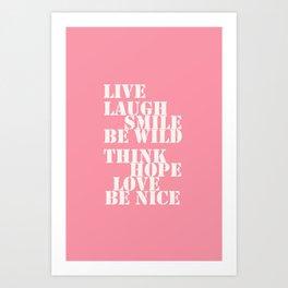 Positive attitude pink Art Print