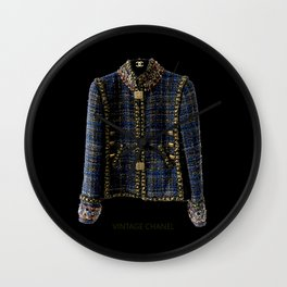 coco vintage blue and gold jacket Wall Clock