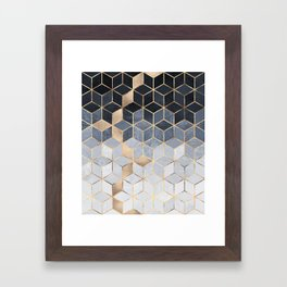 Soft Blue Gradient Cubes Framed Art Print