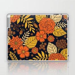 Retro Orange, Yellow, Brown, & Navy Floral Pattern Laptop & iPad Skin