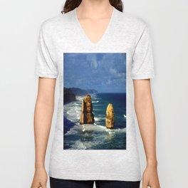 Limestone Rock Stacks & Headlands Unisex V-Neck