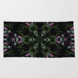 Rose And Jade Geometric Hexagonal  Mandala Pattern Beach Towel