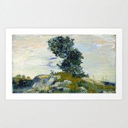 vincent van gogh, rocks with oak tree, the rocks, landscape, canvas, oil Art Print