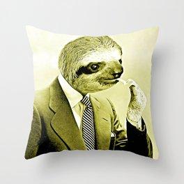 Gentleman Sloth lighting a cigarette Throw Pillow
