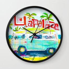 Lollapalooza Plaid Rad Beach Van Wall Clock
