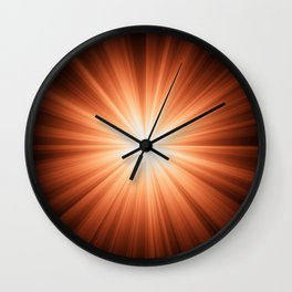 Orange and White Sunburst Abstract Wall Clock