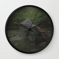 gravity Wall Clocks featuring Gravity by Christine VanFonda