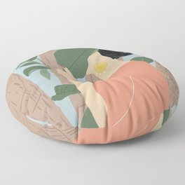 Girl in the forest Floor Pillow