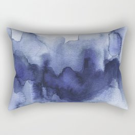 Moody Indigo Abstract Watercolor Rectangular Pillow