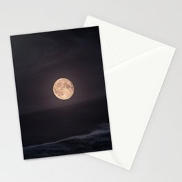 Full Moon over the Ocean Stationery Cards