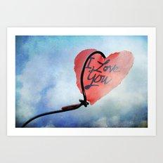Heart in sky Art Print