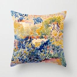 """Henri-Edmond Cross """"The Artist's Garden at St. Clair"""" Throw Pillow"""