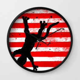 Sticky Pads Climbs Down a Striped Flag Wall Clock