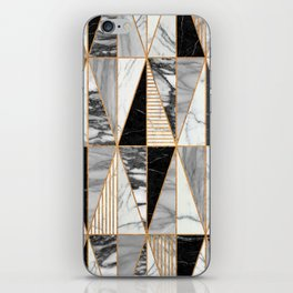 Marble Triangles - Black and White iPhone Skin
