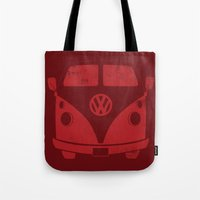 vw bus Tote Bags featuring VW Bus by Burnish and Press