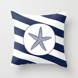 Nautical Starfish Navy Blue & White Stripes Beach Throw Pillow