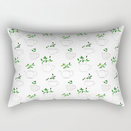 Tea plants in tea cups Rectangular Pillow