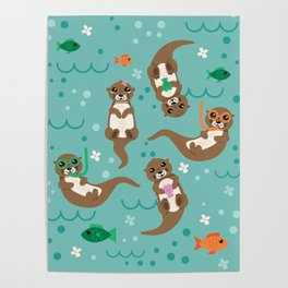 Kawaii Otters Playing Underwater Poster