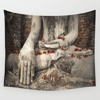 buddhism Wall Tapestries featuring Buddha with flowers by Maria Heyens
