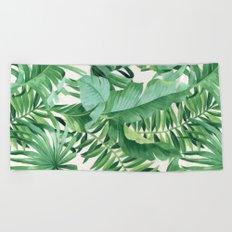 Green tropical leaves III Beach Towel