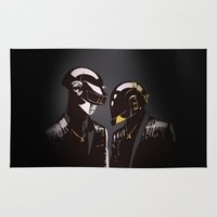 daft punk Area & Throw Rugs featuring DAFT PUNK by Gregory Casares
