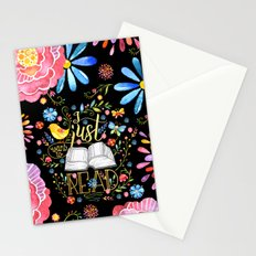 I Just Want To Read - Black Floral Stationery Cards