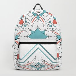 Turquoise Floral Tile Art Backpack