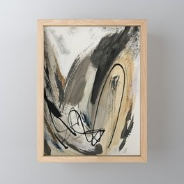 Drift [5]: a neutral abstract mixed media piece in black, white, gray, brown Framed Mini Art Print