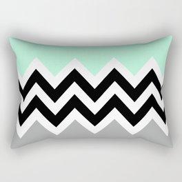 DOUBLE COLORBLOCK CHEVRON {MINT/BLACK/GRAY} Rectangular Pillow