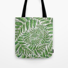 Green Fern leaves circular shape_Hand Painted watercolour & ink Tote Bag