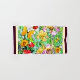 YELLOW IRIS BUTTERFLY SPRING GARDEN BURGUNDY TRIM Hand & Bath Towel