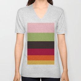 Colorful Color-blocking Stripes Colour Block Stripes Unisex V-Neck
