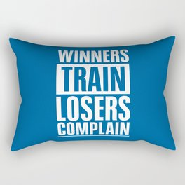 Lab No. 4 - Winners Train Losers Complain Inspirational Quotes poster Rectangular Pillow