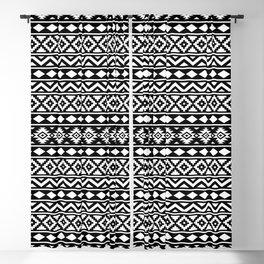 Aztec Essence Ptn III White on Black Blackout Curtain