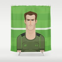 murray Shower Curtains featuring Andy Murray Tennis Illustration by Gary  Ralphs Illustrations