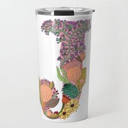 Floral Letter J Travel Mug