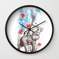 grey Wall Clocks featuring A Happy Place by Norman Duenas